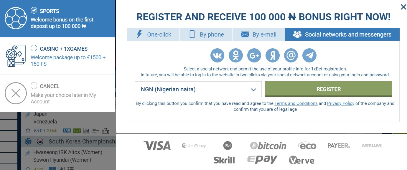 1xbet registration social networks